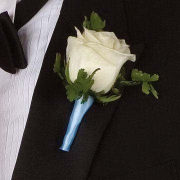 Wedding boutonnieres simple white rose ribbon wrapped with satin wedding boutonnieres simple white rose ribbon wrapped with satin junglespirit Images
