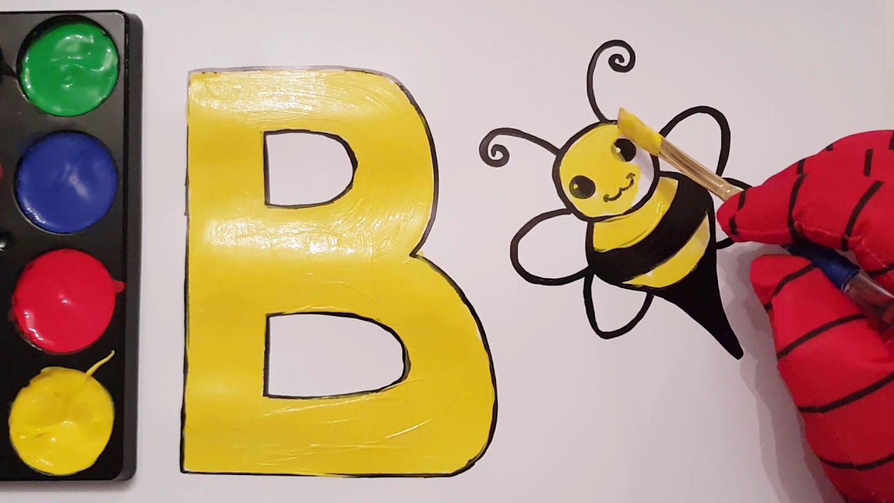 learn alphabet painting abc letter b for bee