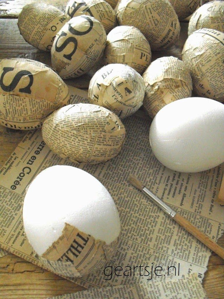 Onlangs Heb Ik Deze Mooie Grote Eieren Gekocht Bij De Kraam Van De Barones Op De Brocantem Doe Het Zelf Pasen Lente Decoratie Knutselen Paaseieren Versieren