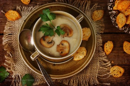 Mushroom soup with croutons by pretty  IFTTT 500px