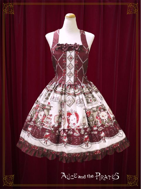 Kitten's Wonder Night Tea Party Low Waist JSK by Alice and the Pirates in Wine