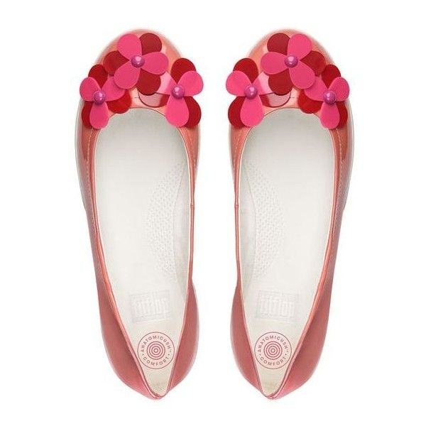 00280c1c242cf FitFlop F-Sporty™ Flower Patent Ballet Flats ( 125) ❤ liked on Polyvore  featuring shoes