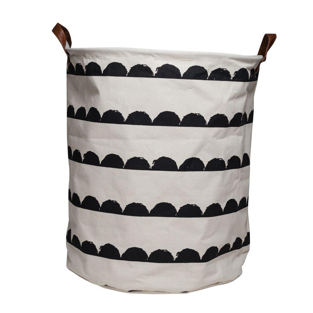 A$30 Leoandbella.com.au Canvas Storage Basket Black And White Wave 50x45cm