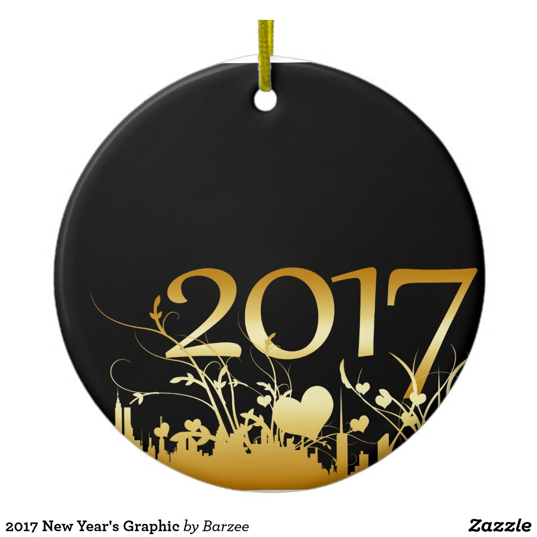 2017 New Year's Graphic Ceramic Ornament Zazzle.ca