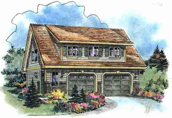 Comforting 3 Car Carriage House Plan 29827rl: Elevation Of Craftsman Garage Plan 58541