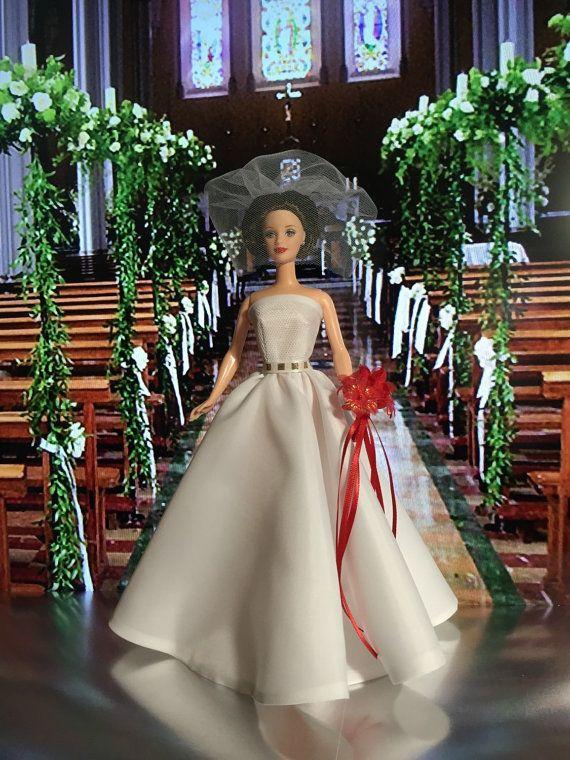 barbie bride wedding gown one of kind wedding day unique barbie ooak doll fashion bridal shower decor centerpiece barbie wedding