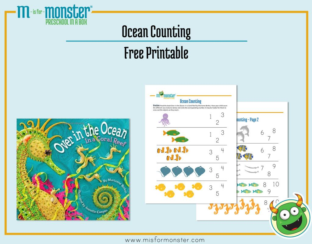 Over In The Ocean Book Free Counting Printable