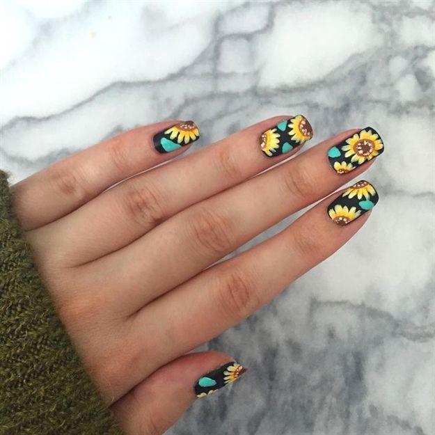 Easy Sunflower Nail Art!!!   JennyClaireFox # ...