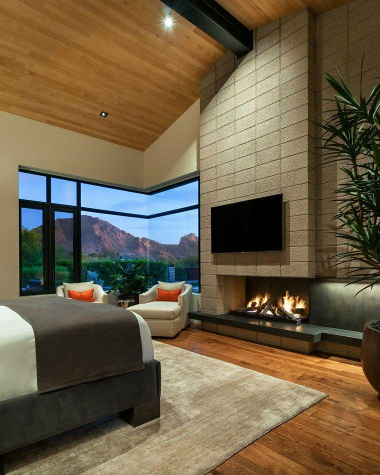 Schlafzimmer mit modernen Kaminen \u2013 30 Original Ideen Kamine 2019