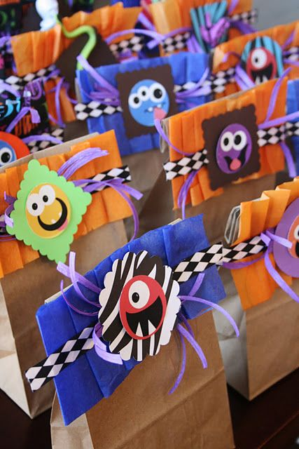 Monster party treat bags