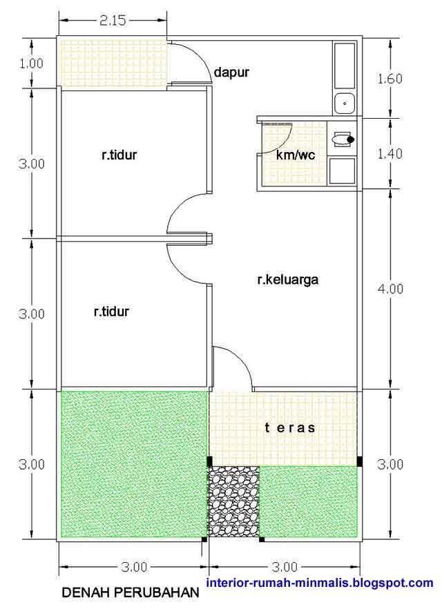 Denah Rumah Type 21 1 Lantai : denah, rumah, lantai, Desain, Rumah, Minimalis, Bahan, Bangunan