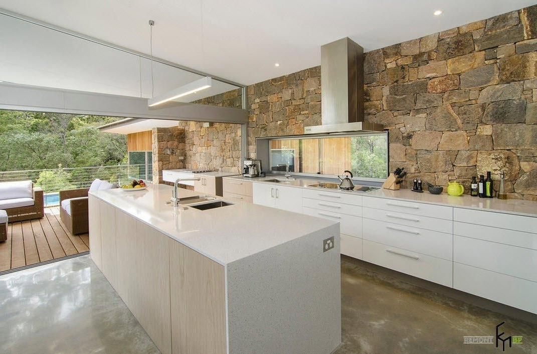 incredible brown stone wall ideas for minimalist kitchen with shiny