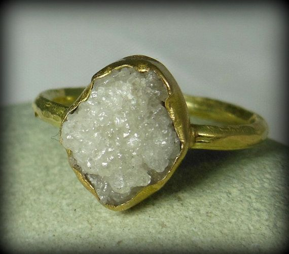 Large Pure White Rough Diamond and Yellow Gold engagement ring,   raw diamond gemstone  ring,  solid gold wedding ring