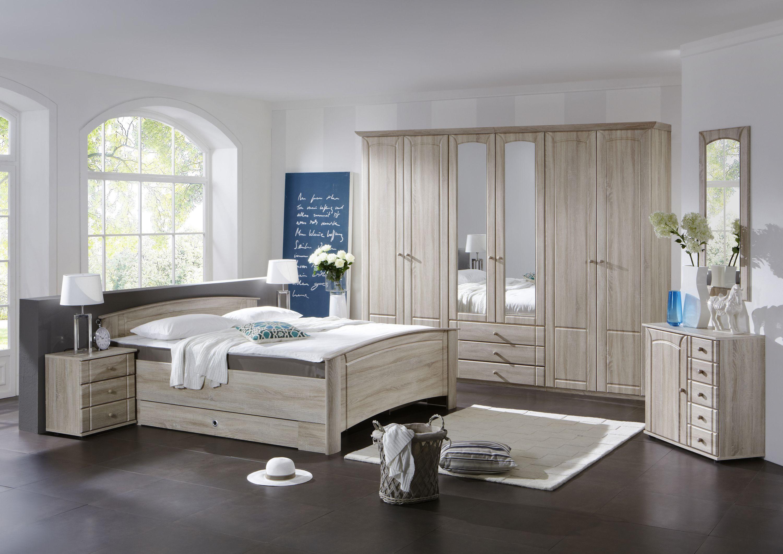 Schlafzimmer Mit Bett 180 X 200 Cm Eiche Sägerau Woody 132