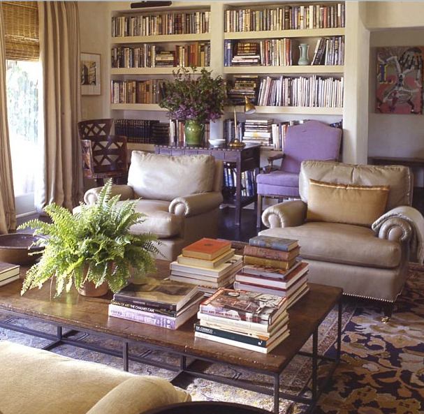 """From Michael S. Smith's Instagram, """"West LA library from several years ago ...love the lavender antique linen on chairs,"""" michaelsmithinc (12 March 2014). http://instagram.com/p/ldrgGFLo-l/#."""