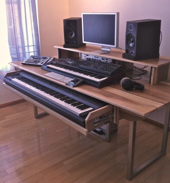 audio video editing music sound production desk in minimalist industrial style studio. Black Bedroom Furniture Sets. Home Design Ideas