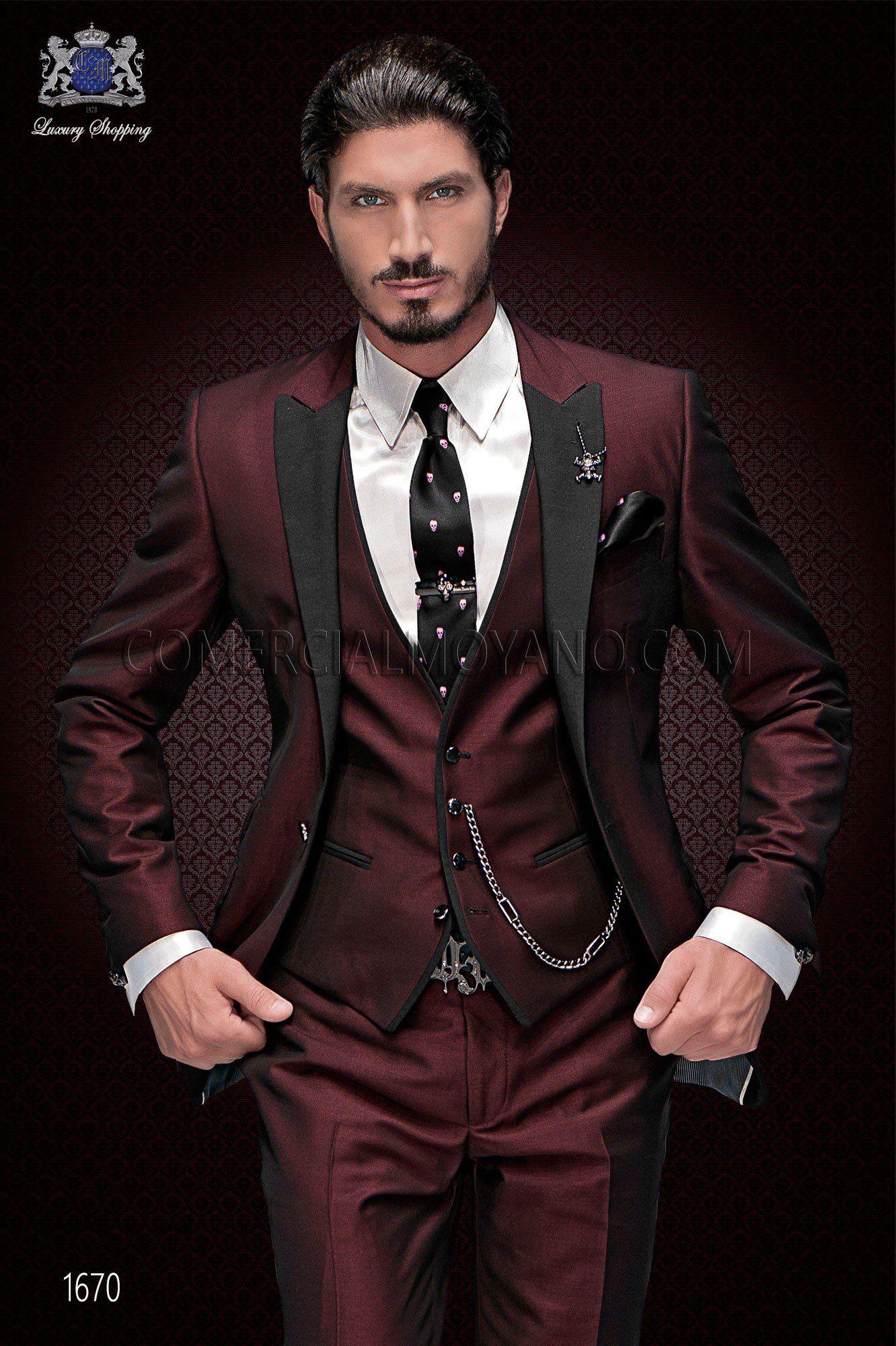 Traje de novio italiano de moda. Traje de moda rojo de 1 botón y exclusivo  corte italiano. Traje rojo colección emotion 1670 Ottavio Nuccio Gala fab798d08a8c