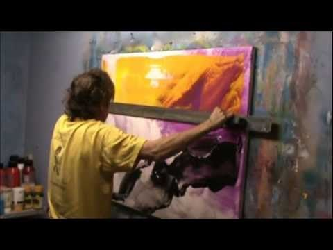 Learn How To Paint Abstract With Really Big Scraper. By Jan van Oort