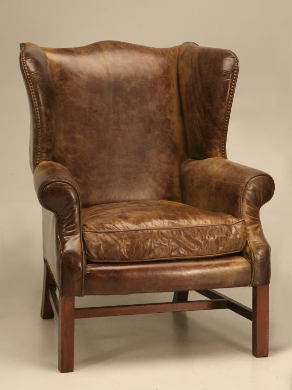 Superior Outstanding Pair Of Vintage Distressed Bomber Leather Wing Back Chairs