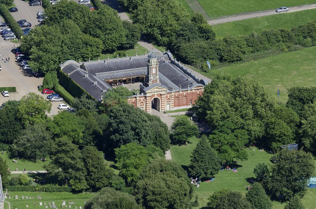 Wimpole Hall stable block built in 1852. Grade 2 listed building. Wimpole Hall & Estate in Cambridgeshire - UK aerial