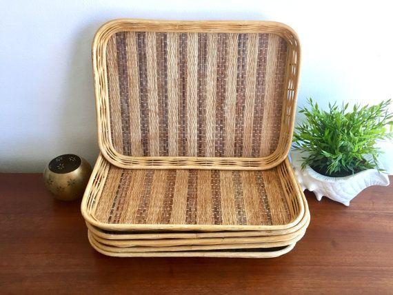Wicker Serving Trays Set Of 2 Rattan Dinner Trays Bamboo Rigid