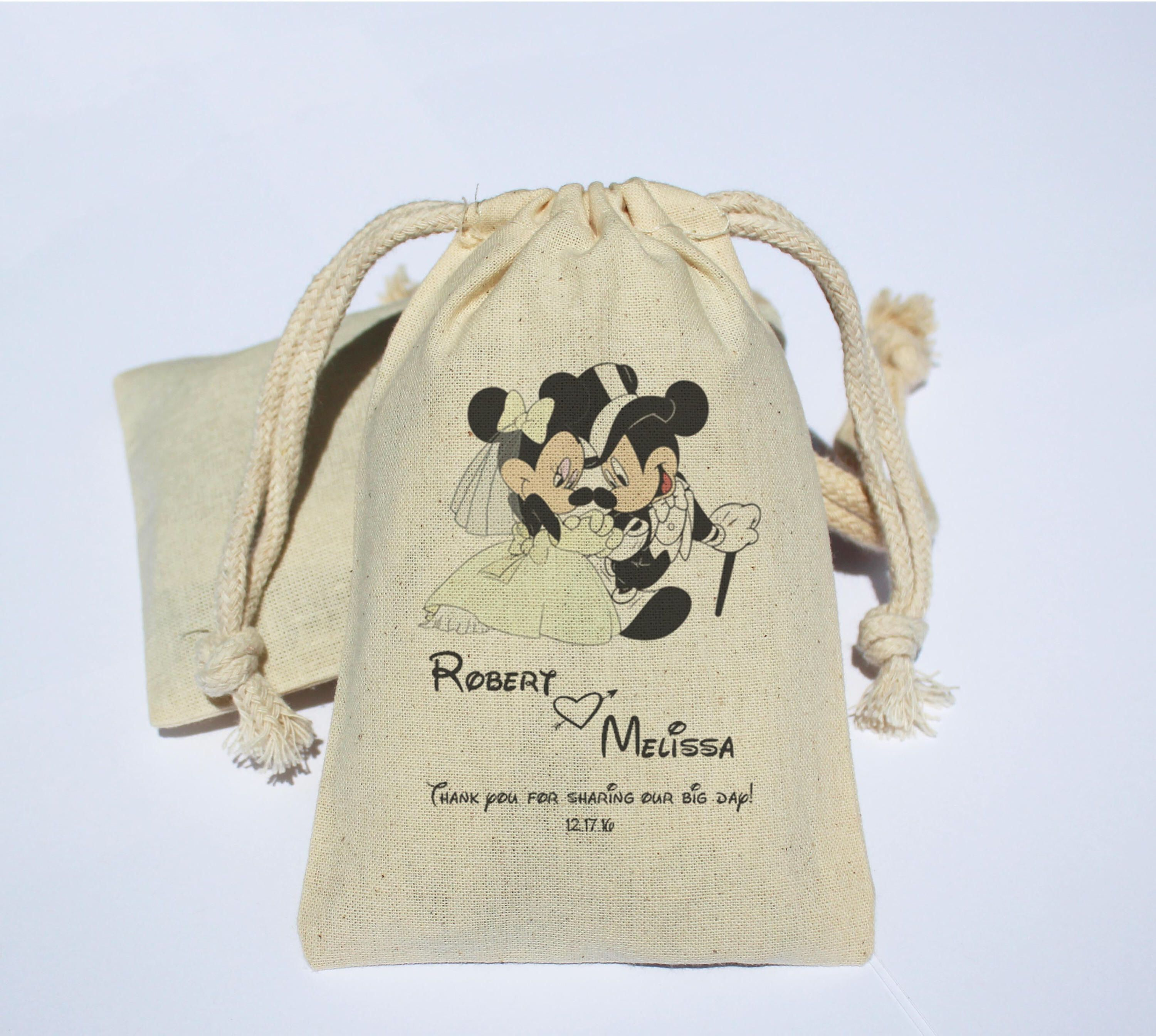 Personalized Mickey & Minnie Mouse Wedding Cotton Muslin Bag ...