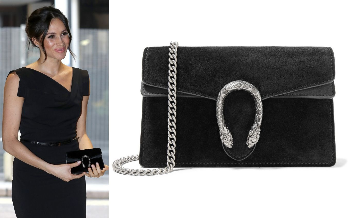 448e83c49a Gucci 'Dionysus' Super Mini Black Suede Bag as seen on Meghan Markle ...