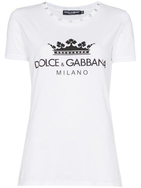 5604a63d119919 Dolce & Gabbana T-shirt Con Logo Stampato nel 2019 | blusas | Logo ...