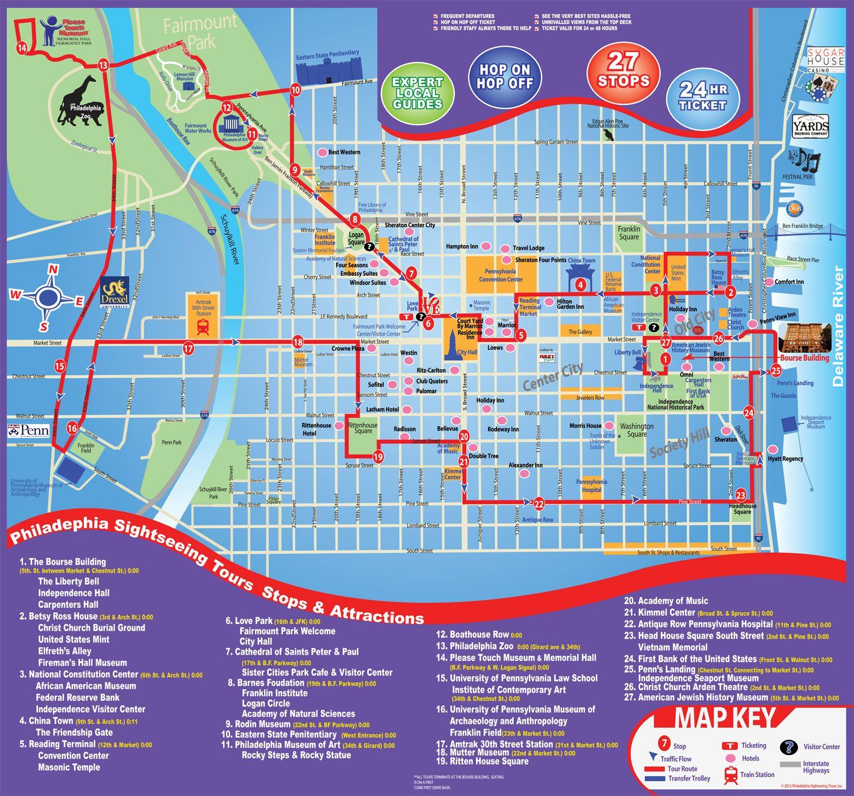 Philadelphia City Tour Map Map Philadelphia Sightseeing Tours - Philadelphia map in usa