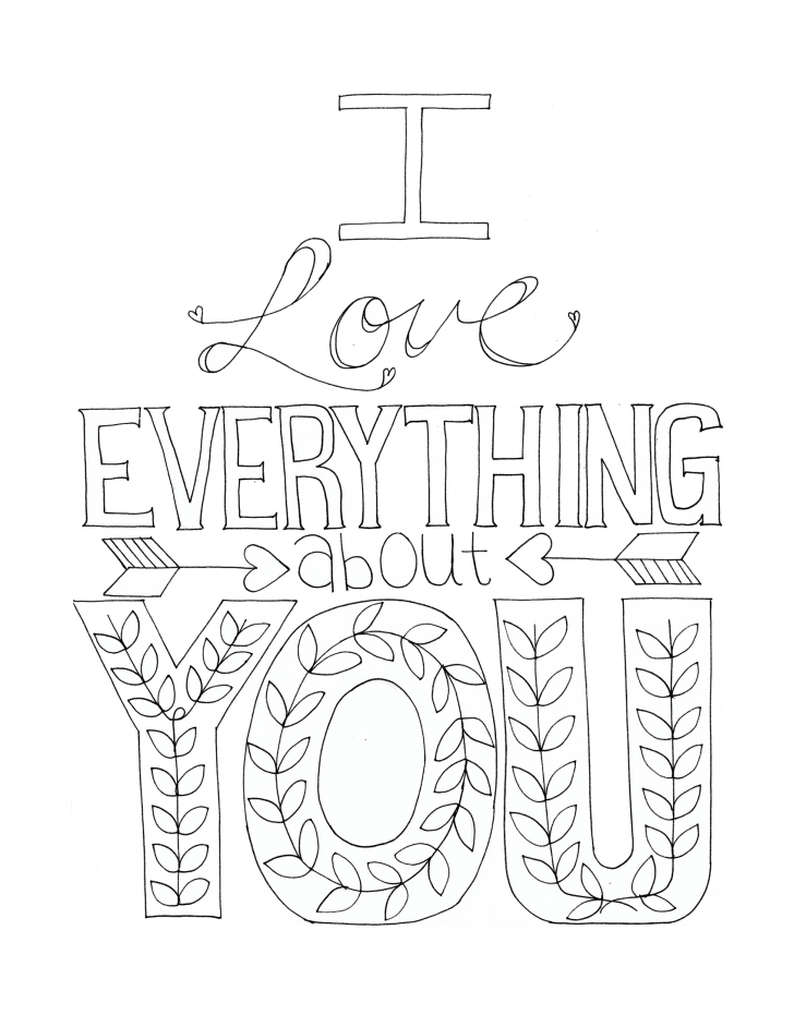 I love everything about you Printable, color-able card