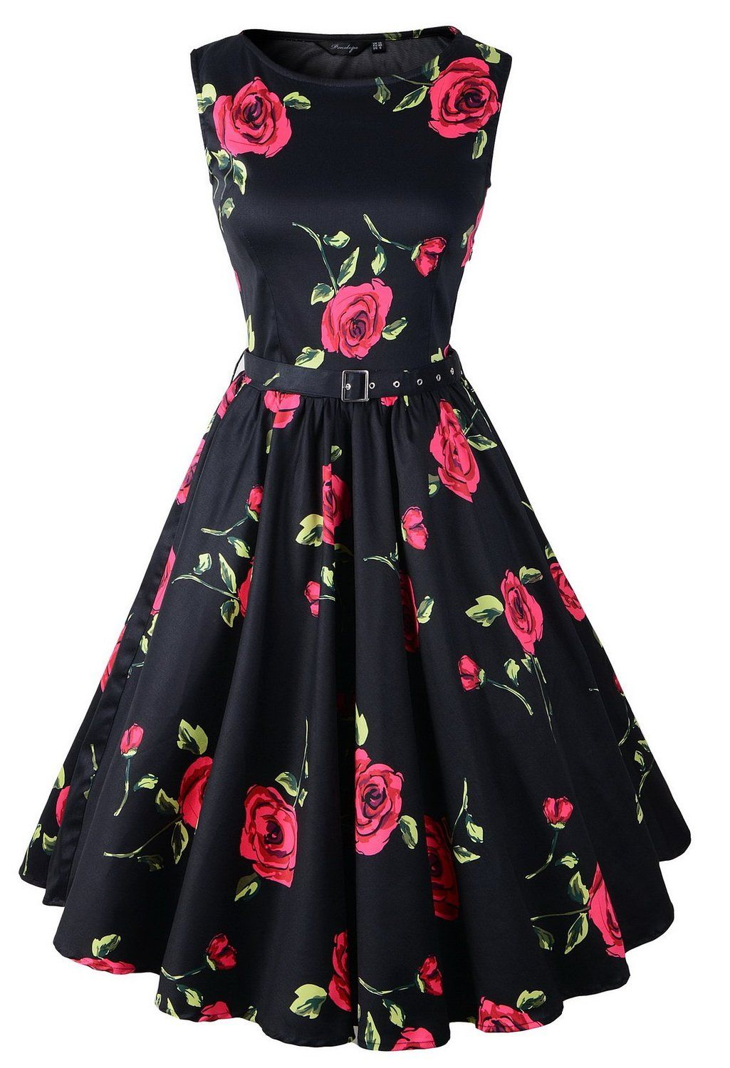 Hepburn style s floral rose pattern swing circle party dress at