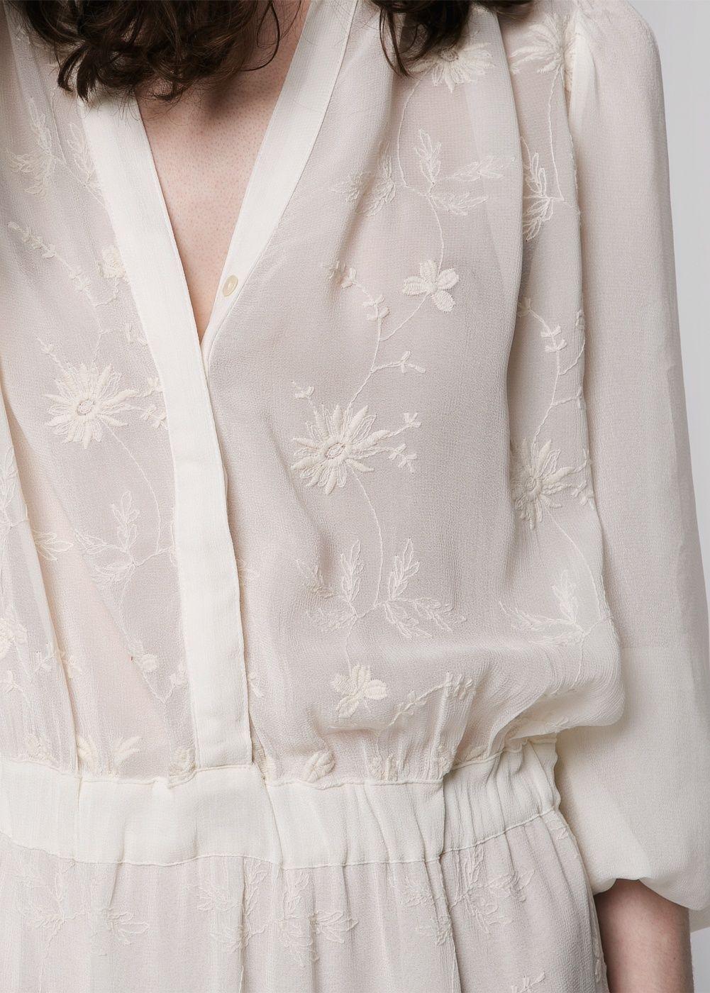 Kleid mit blumenstickerei - Damen  Mango Deutschland  Fashion
