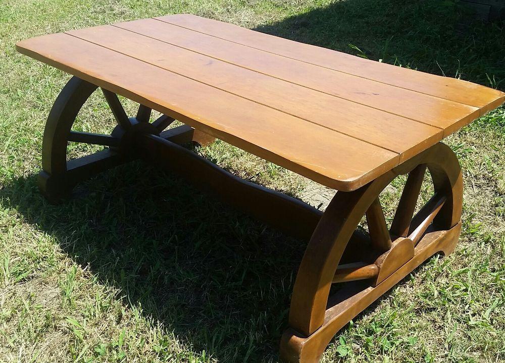 Beautiful Mid Century Western Ranch Wagon Wheel Coffee Table It Measures 40 X