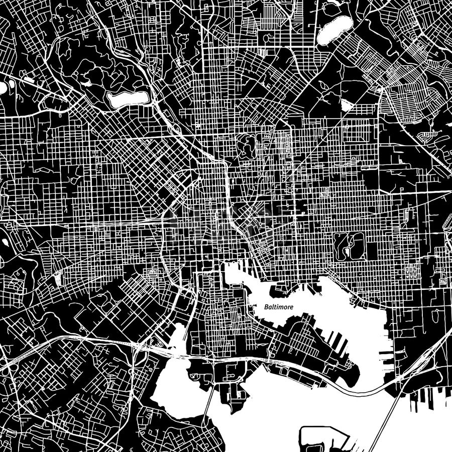 Baltimore, Maryland, downtown map, dark | Print templates ...