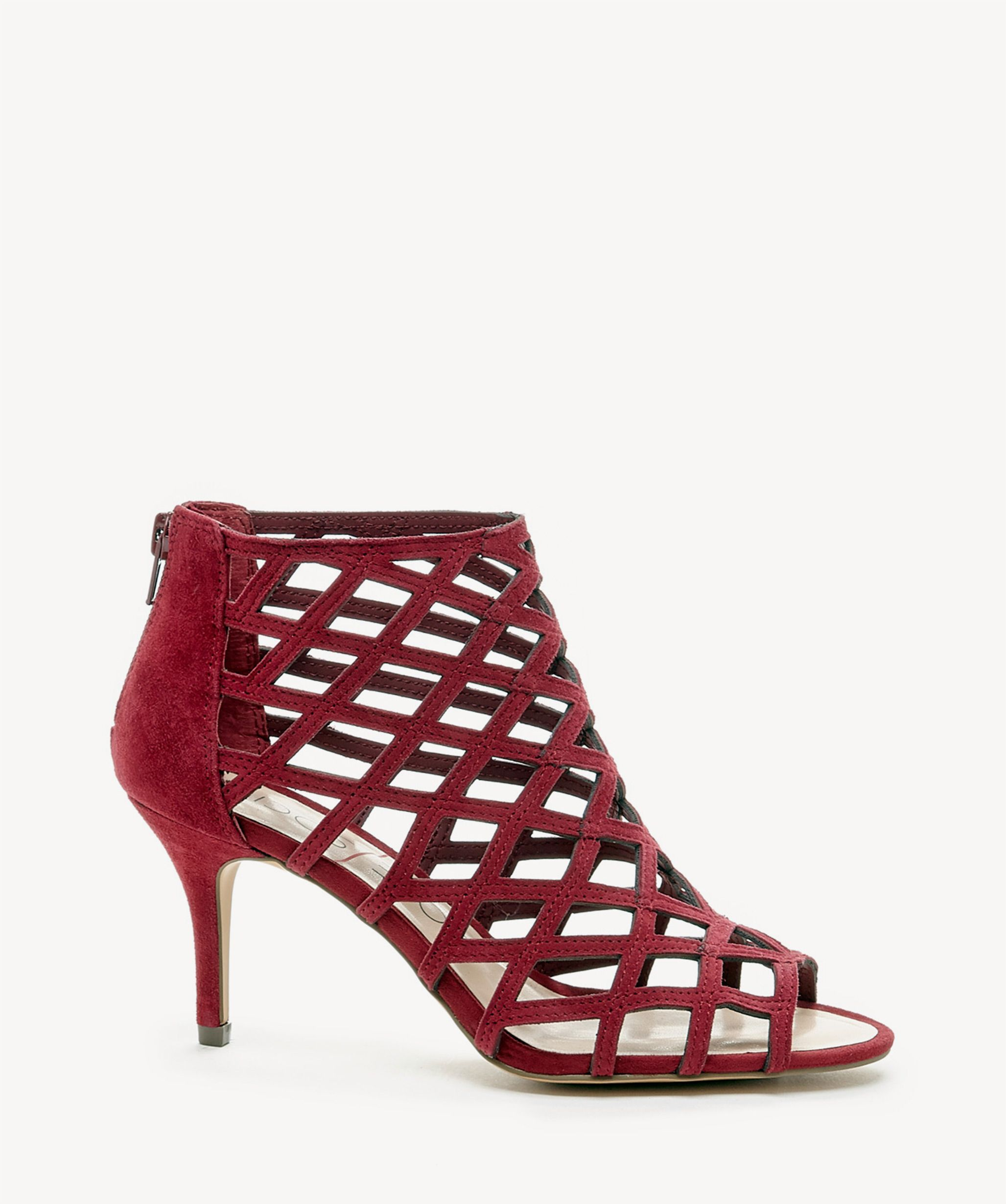 d6801edf426 Sole Society Portia Caged Mid Heels Crimson | Size 11 Suede ...