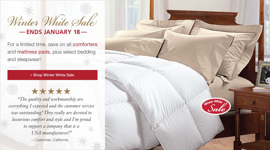 Down Comforters, Down Pillows, Synthetic Filled Comforters, Synthetic Filled Pillows, Featherbeds, Linen Sheets, Bamboo Towels, Silk Pillowcases | Cuddledown | WWW.CUDDLEDOWN.COM