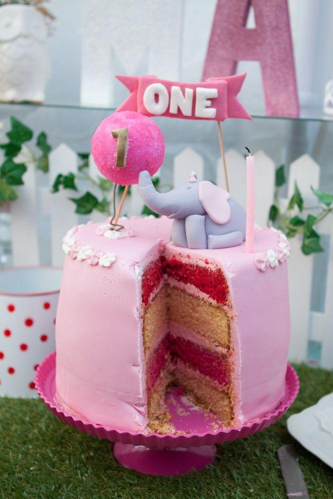Elephant With Balloon First Birthday Cake Pink White Sponge Stripes