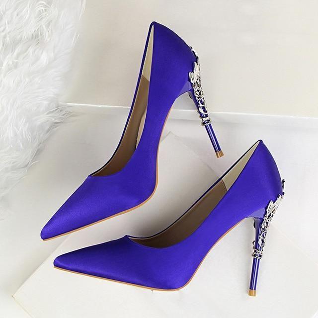 BIGTREE Metal Carved Heels Shoes Women Pumps Solid Elegant High Heels Fashion Wedding Shoes Famale Women Heel Shoes High 10cm - Blue 6.5