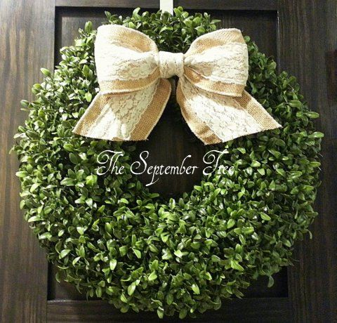"Faux Boxwood Wreath 18"" - Easter Wreath - Spring Wreath - Year Round Wreath - Welcome Wreath - Front Door Wreath - Housewarming Gift"
