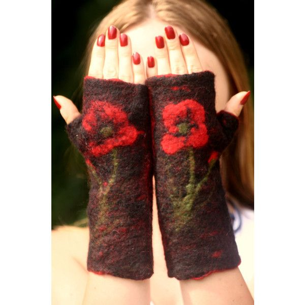 fairy arm warmers- felted fingerless gloves ($32) ❤ liked on Polyvore featuring accessories, gloves, fingerless arm warmers, mitten gloves, fingerless mittens, red and black fingerless gloves and summer gloves