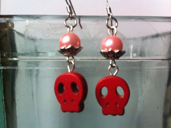 Halloween Skull Earrings Red Skull Earrings I by TimelessAvenue, €11.50