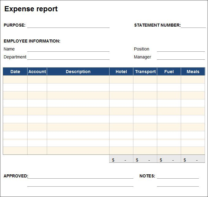 Expense Report Template - Free Excel Expense Report Template By