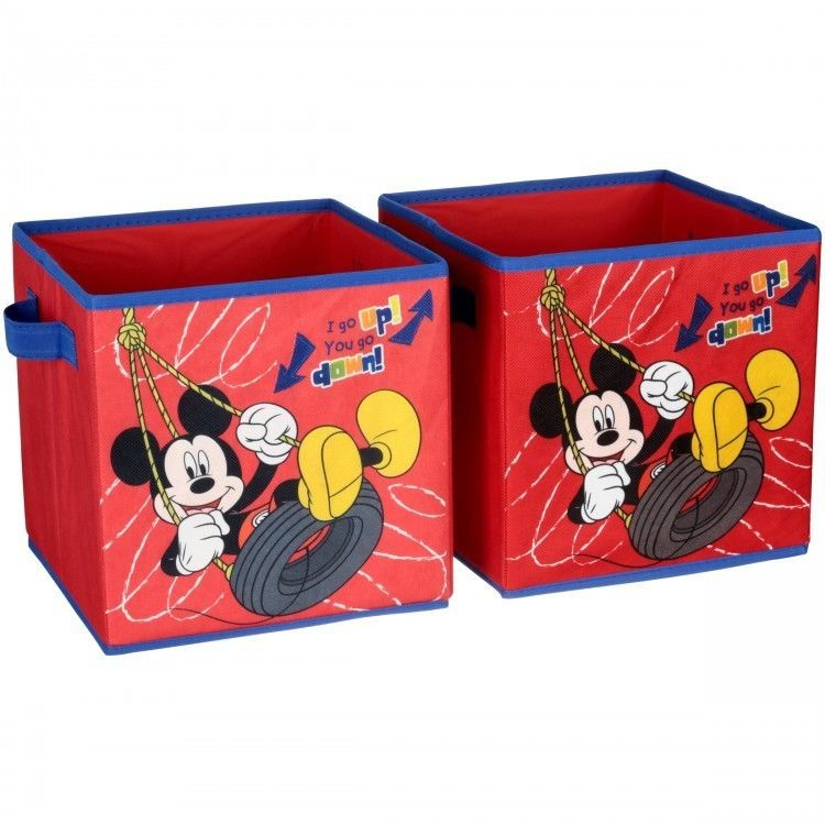 Mickey Mouse Storage Cube Set Of Two 10 X 10 Collapsible Cubes Playroom Toybox Disney Disney Mickey Mouse Clubhouse Cube Storage Toy Storage Boxes