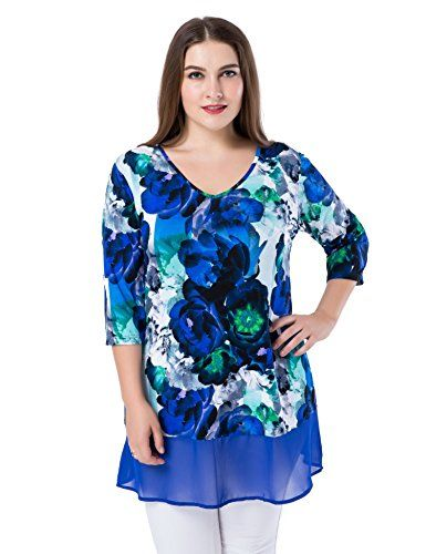 1d46fc09873c Chicwe Womens Plus Size Floral Printed V Neck Tunic Top with Chiffon Hem 26  Blue Multi    Learn more by visiting the image link.