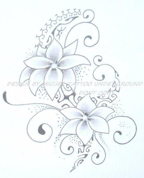 Dessin de tatouage floral compos de deux fleurs - Dessin tatouage fleur ...