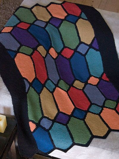 Free Knit Pattern Download This Stained Glass Afghan Designed