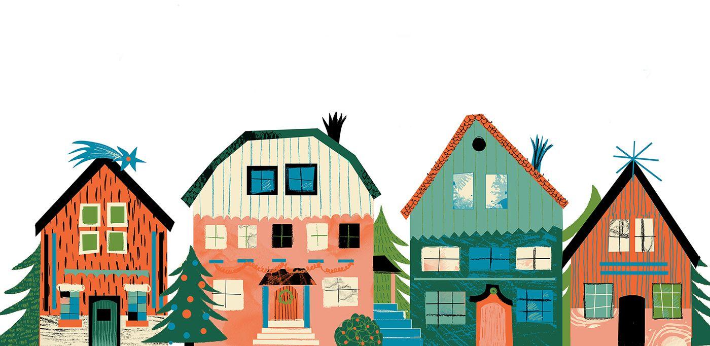 Winter Illustration Dibujos De Edificios Ilustraciones Dibujos