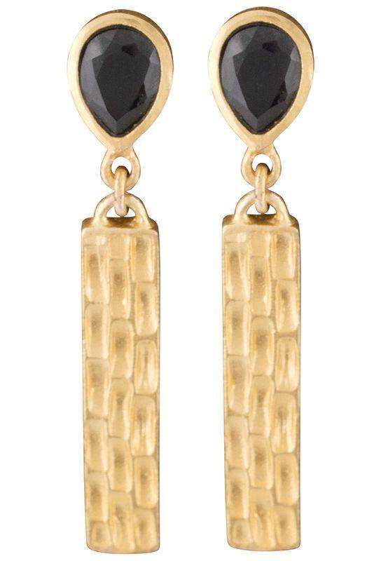 Christina Greene Black Onyx Bar Earrings