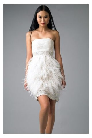 White dresses with feathers