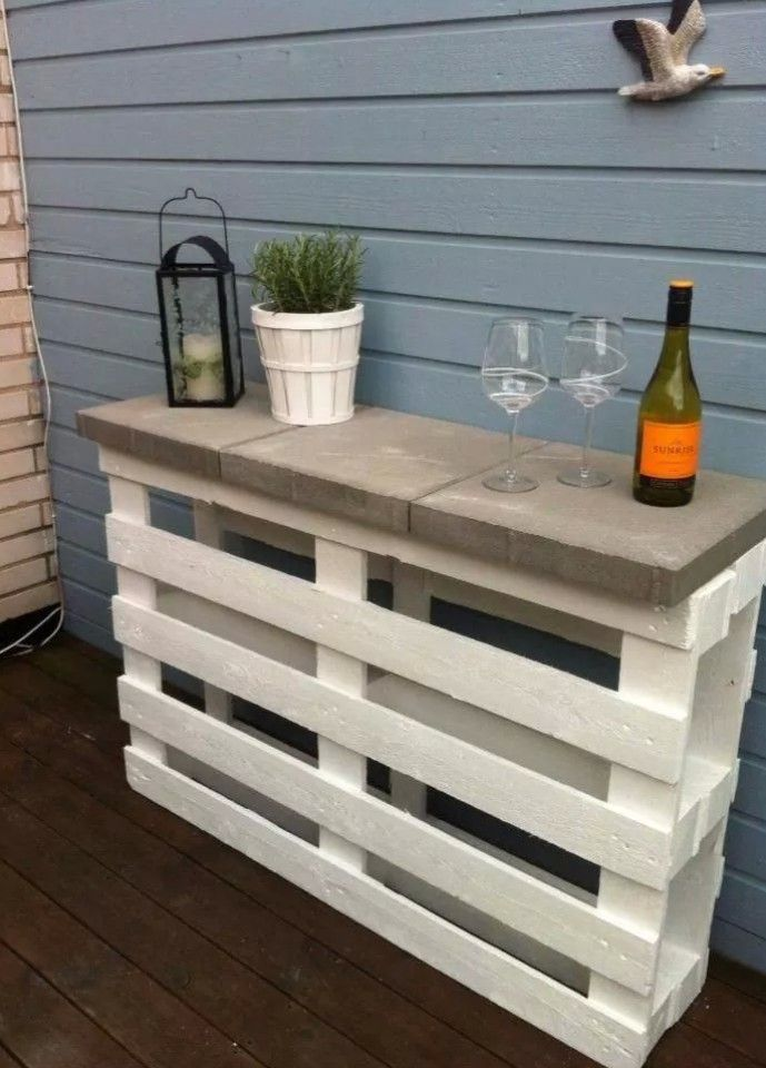 pallet furniture designs. 2 Pallets + 3 Pavers White Paint \u003d A Great Outdoor Shelf, Bar Or Garden Table. This Is Inexpensive, Easy And Handy Pallet Furniture Designs R